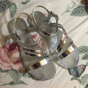Silver Jelly Sandals